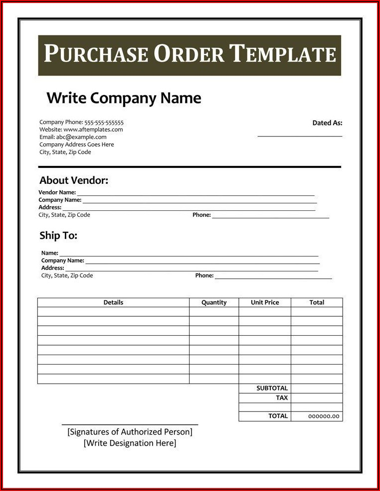 Free Printable Purchase Order Template