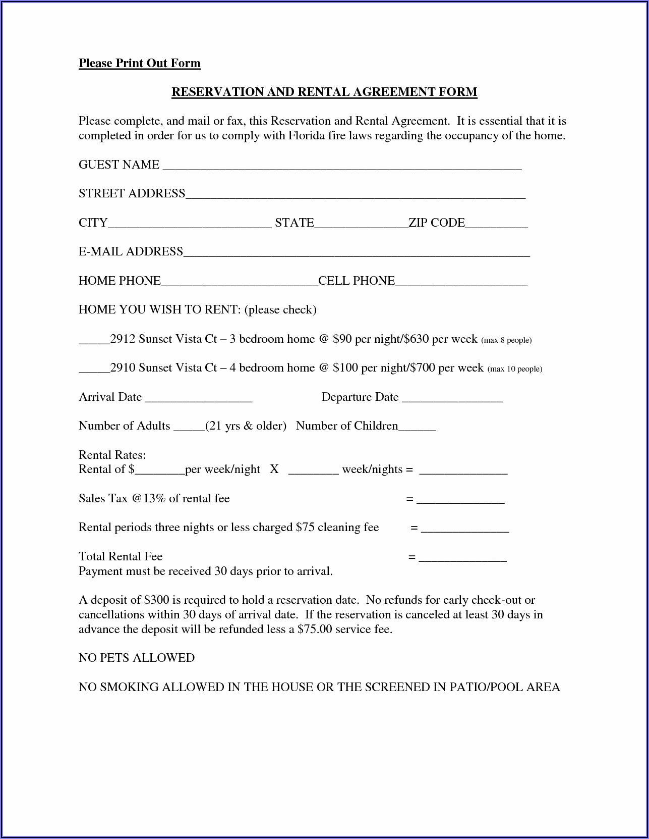 Free Printable Rental Lease Agreement Template