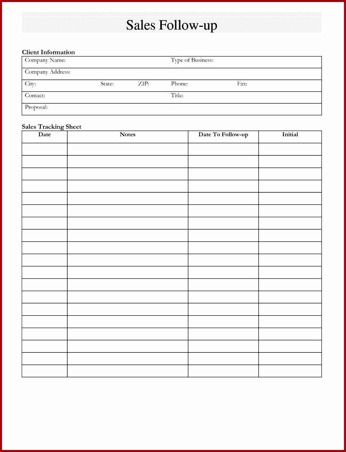 Free Printable Sales Lead Form Template