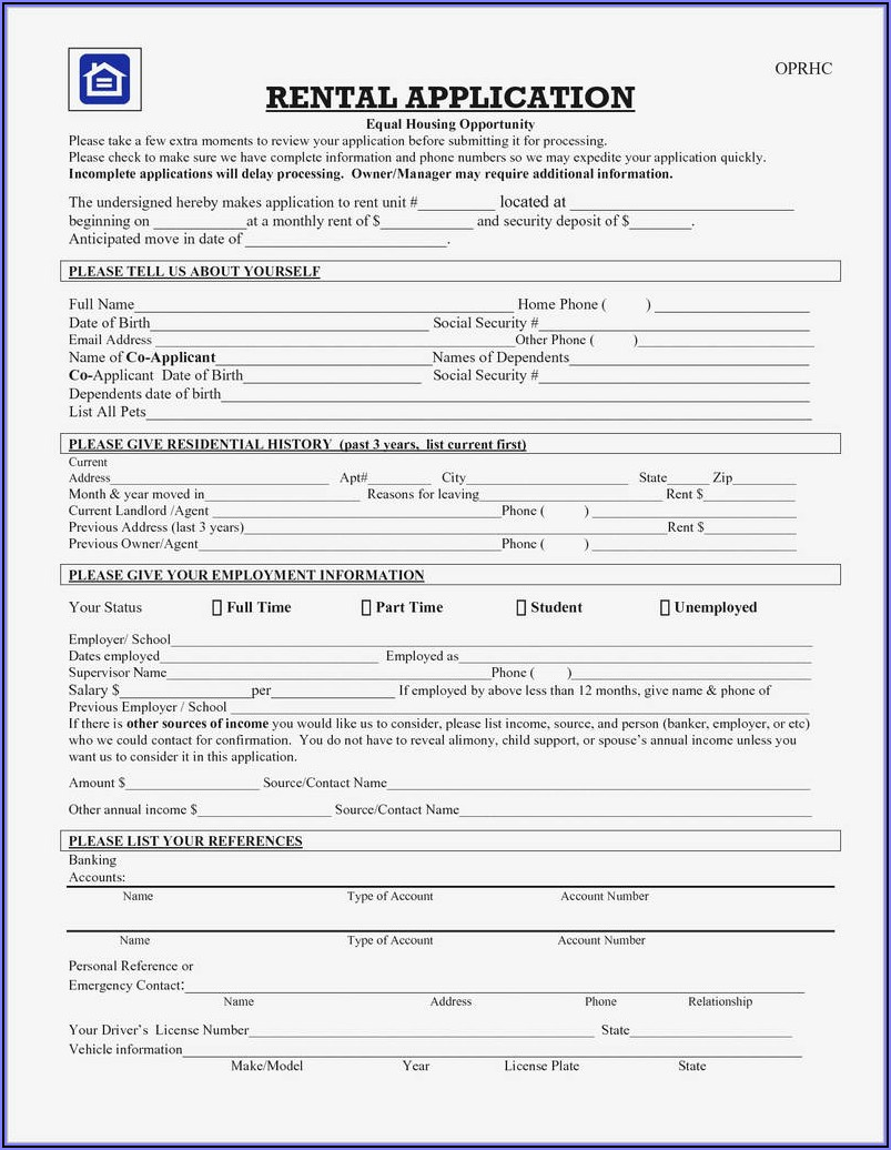 Free Rental Application Form Nc