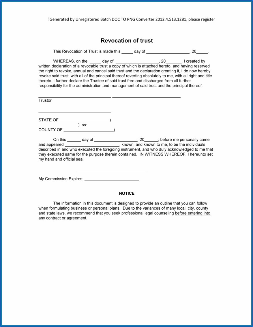 Free Revocable Trust Template