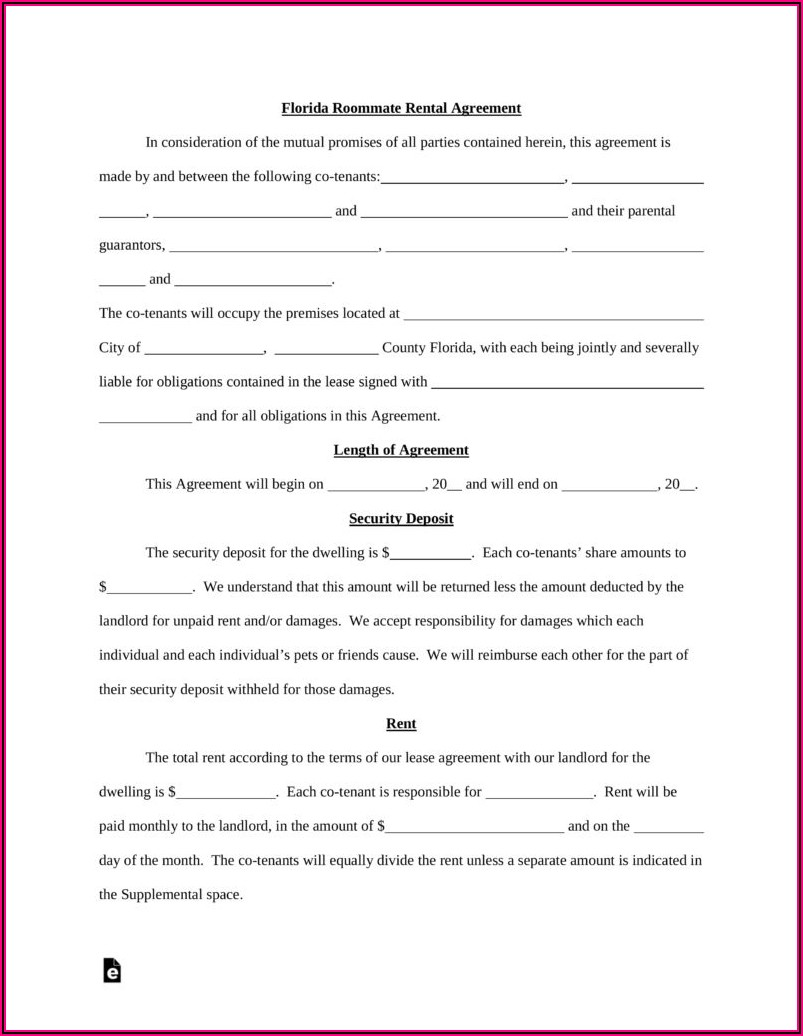Free Room Rental Agreement Template Pdf