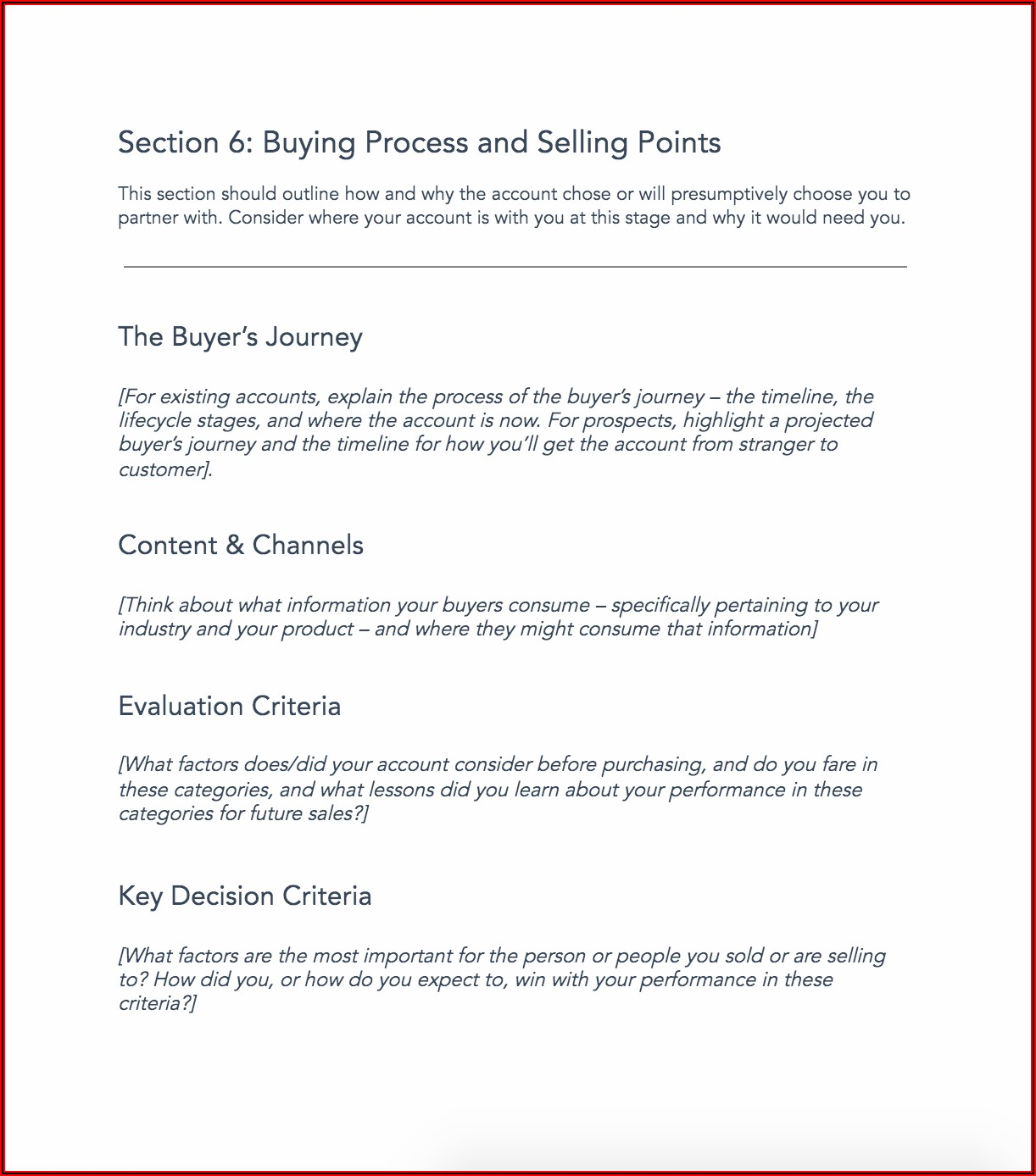 Free Sales Account Planning Template