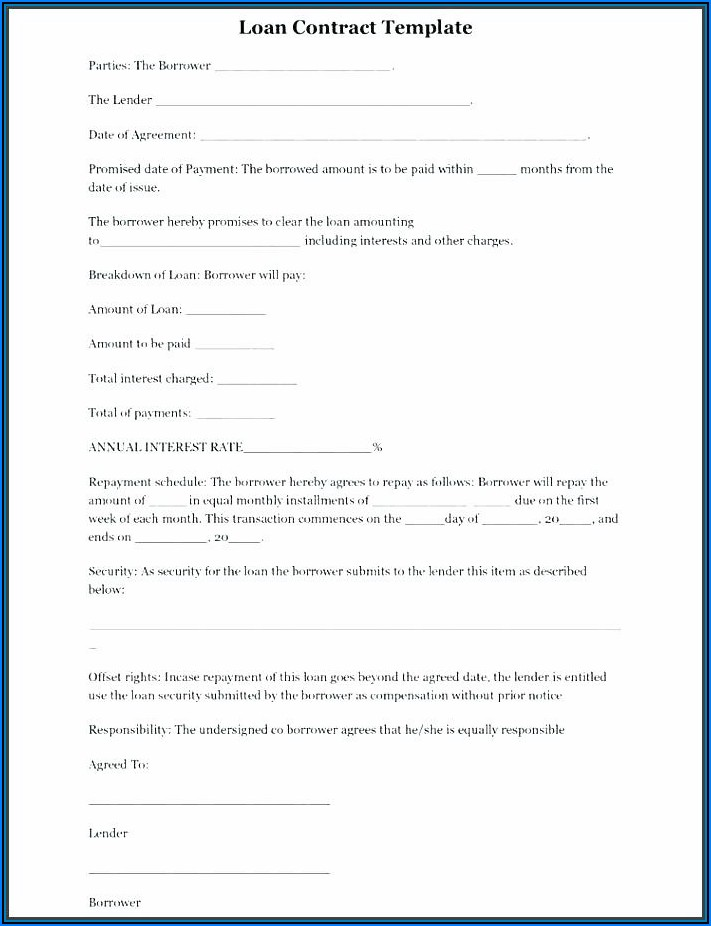 Free Simple Personal Loan Agreement Form