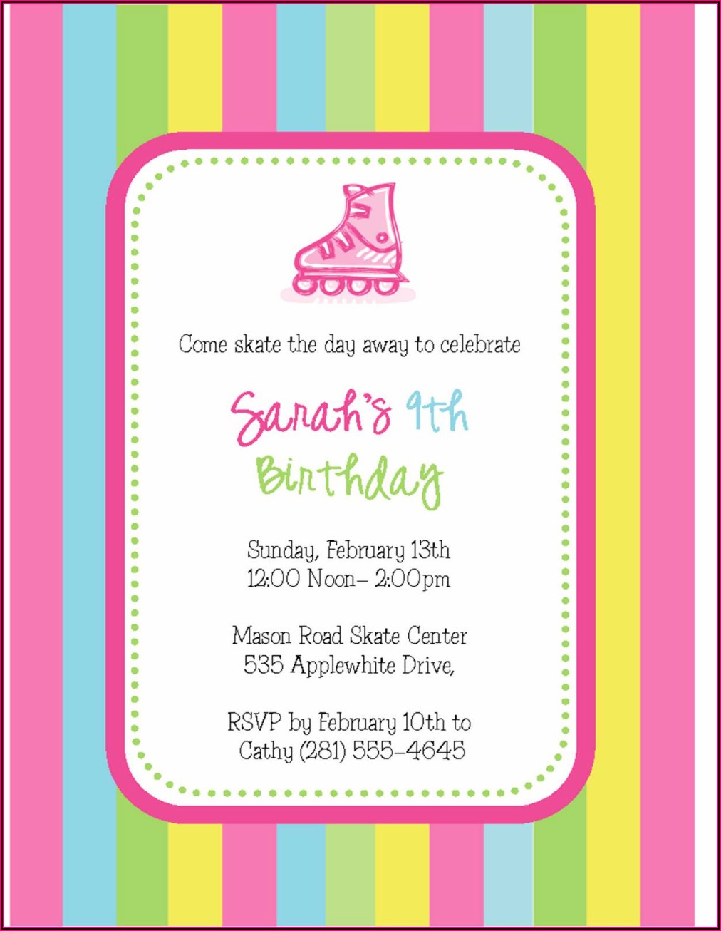 Free Skating Invitations Templates