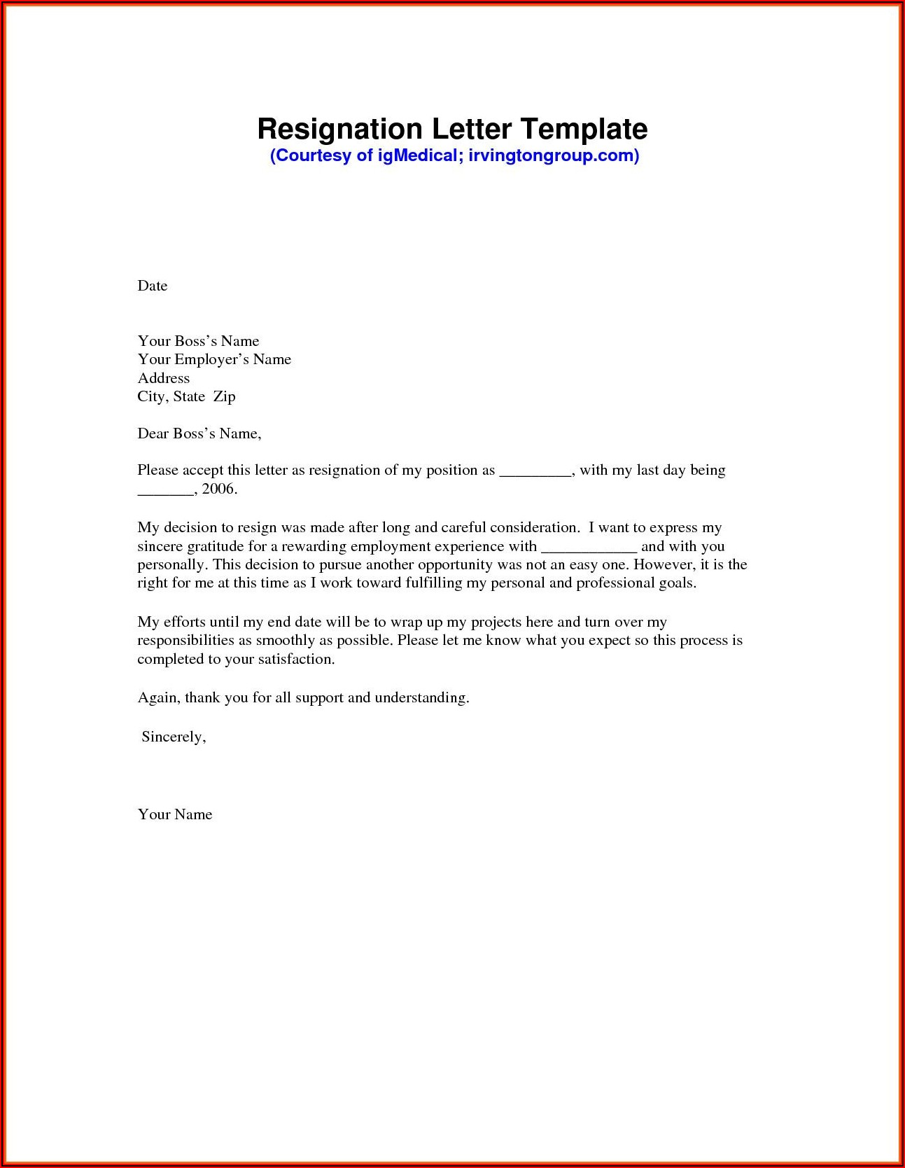 Free Template Resignation Letter Download