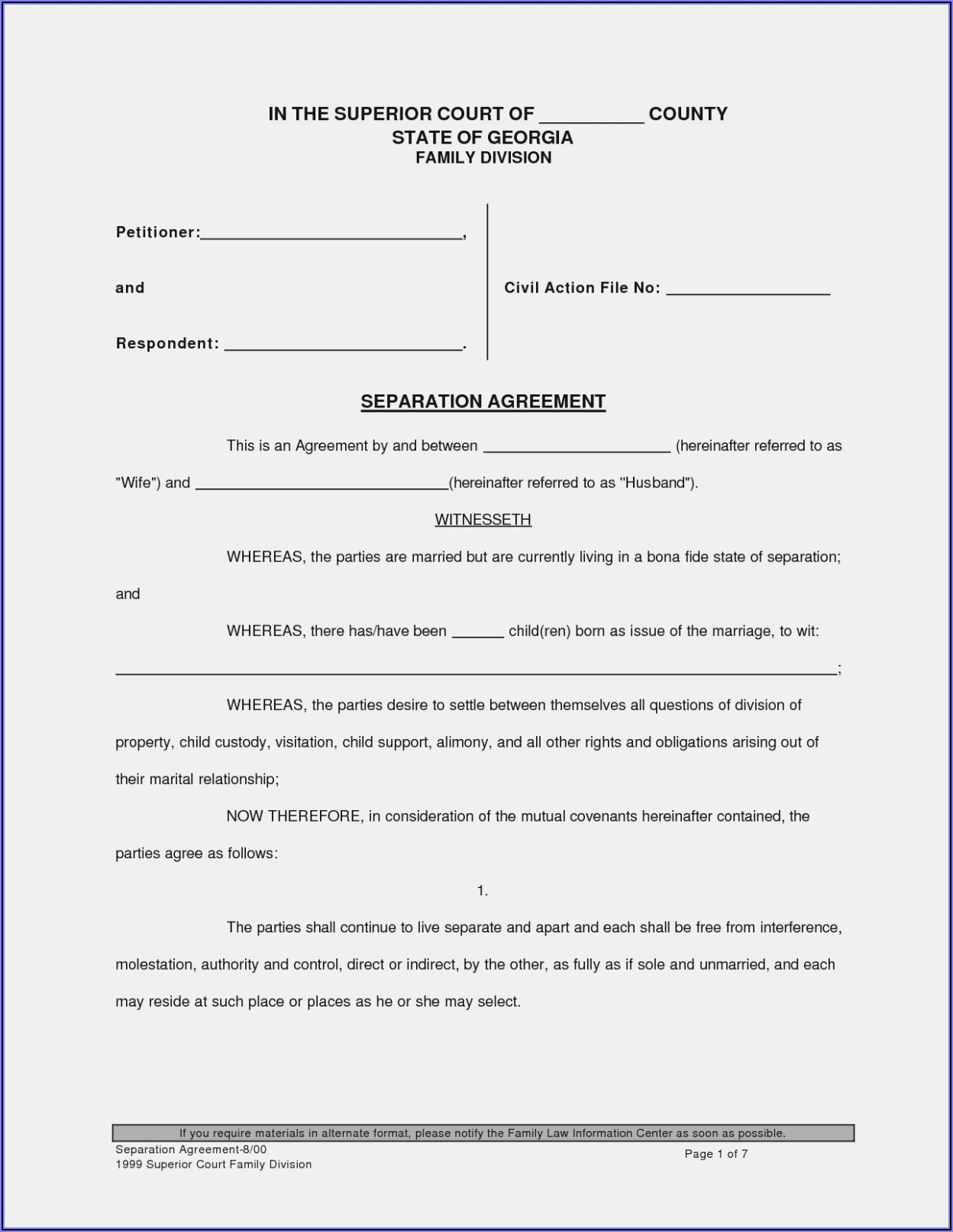 Free Uncontested Divorce Forms Georgia