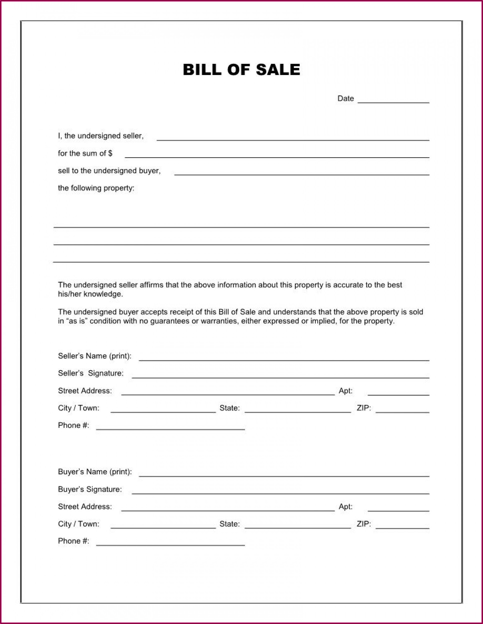 Free Used Car Bill Of Sale Ontario Template Pdf