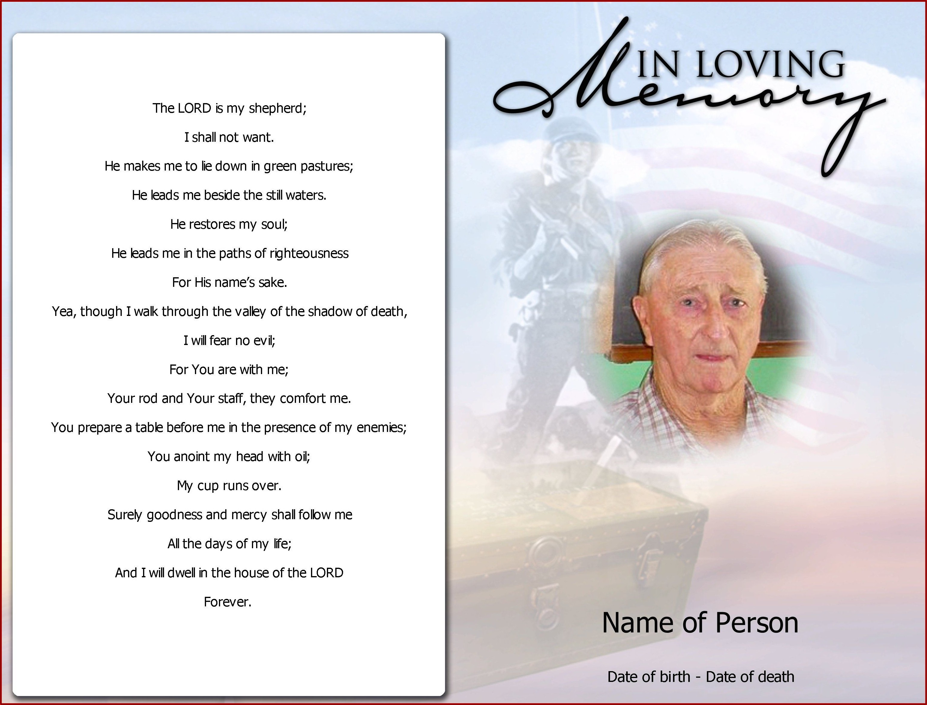 Funeral Remembrance Cards Template