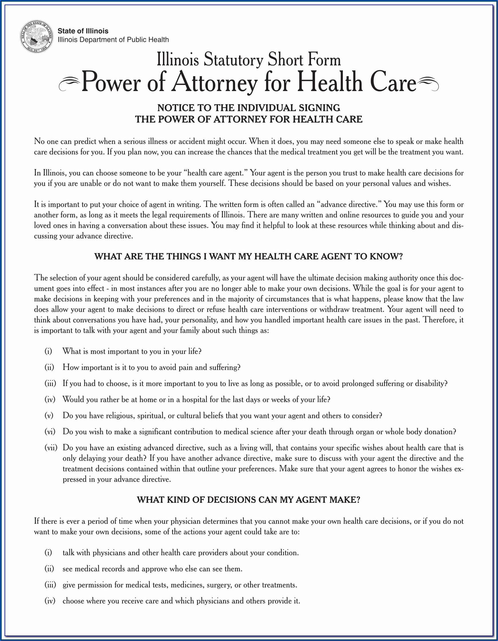 Ga Advance Directive For Health Care Form