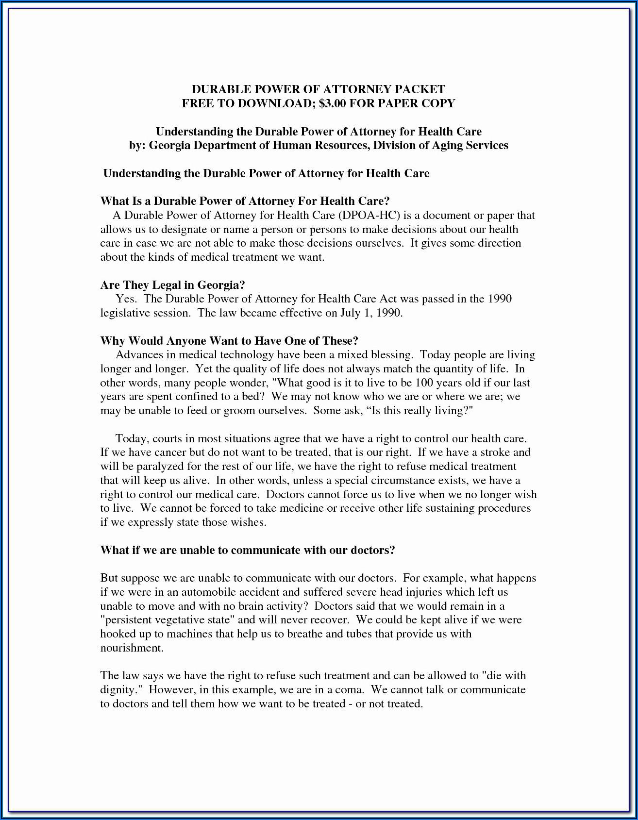 Georgia Advance Directive For Healthcare Form 2017