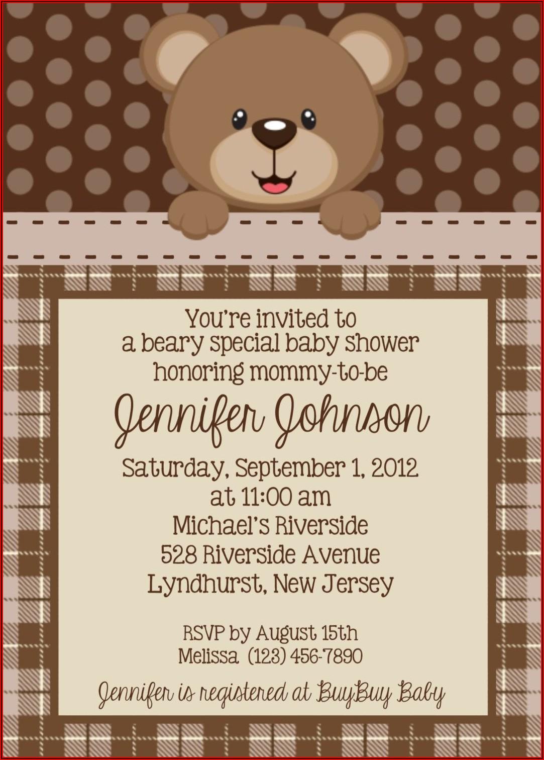 Girl Teddy Bear Baby Shower Invitation Templates