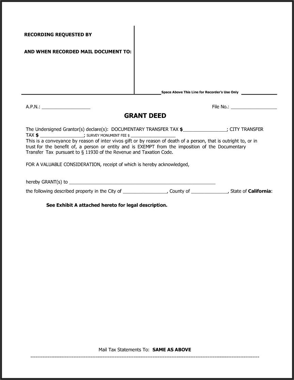 Grant Deed Sample California Trust