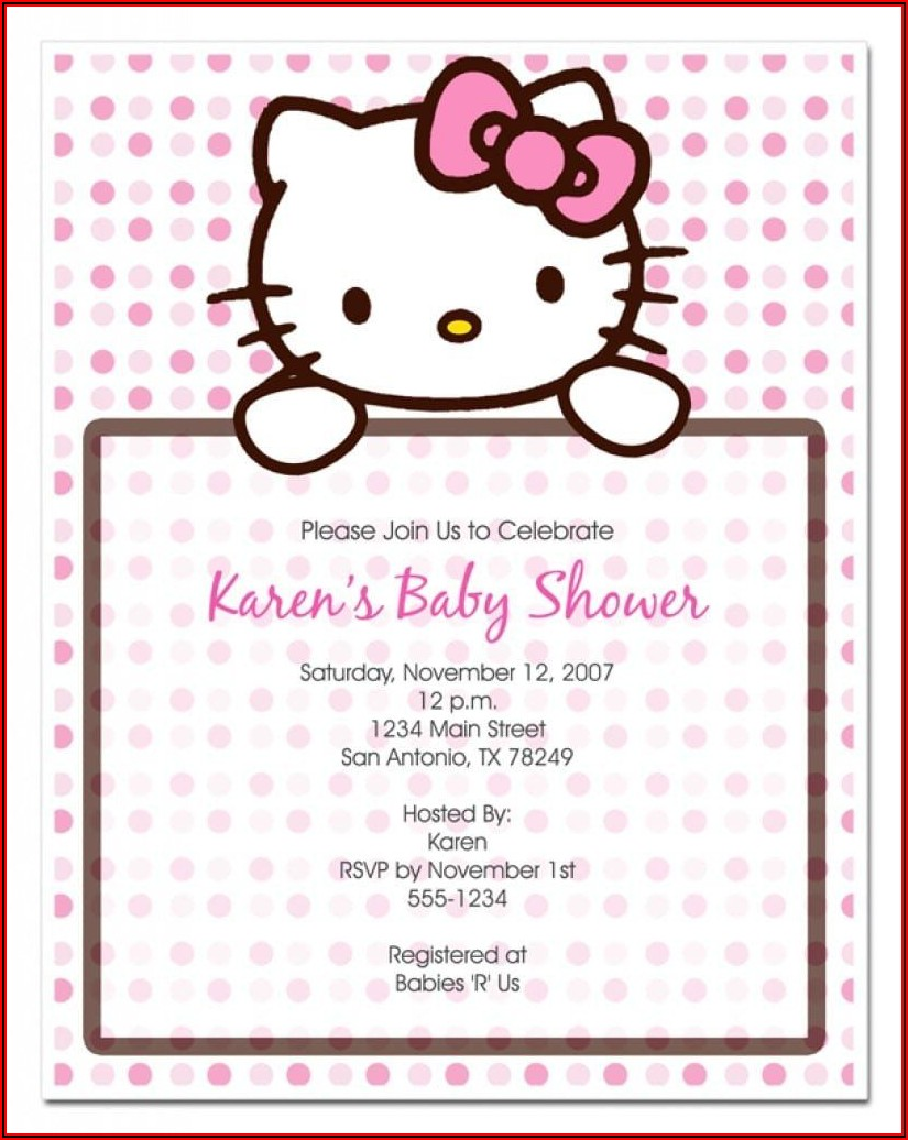 Hello Kitty Christening Invitation Template