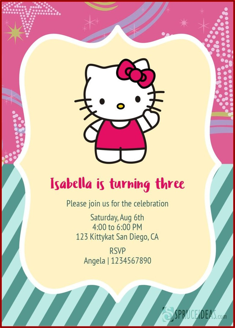 Hello Kitty Invitation Card Template