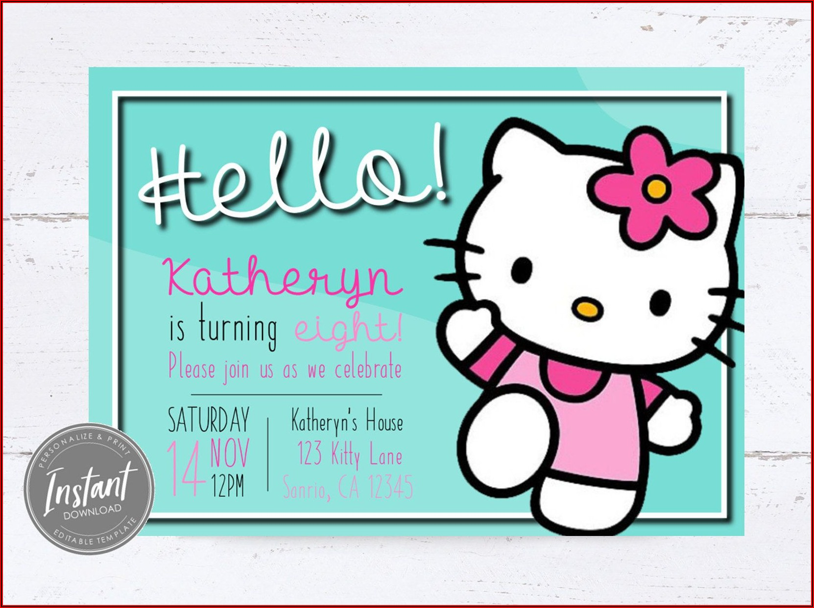 Hello Kitty Invitation Template Editable