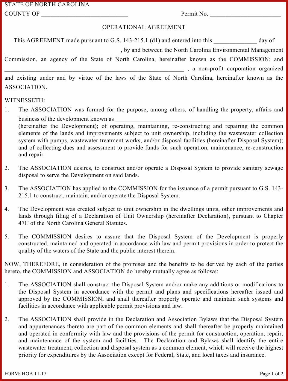 Hoa Agreement Form
