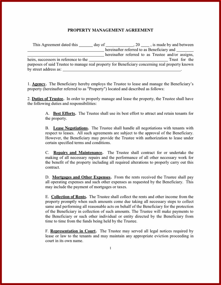 Hoa Agreement Template