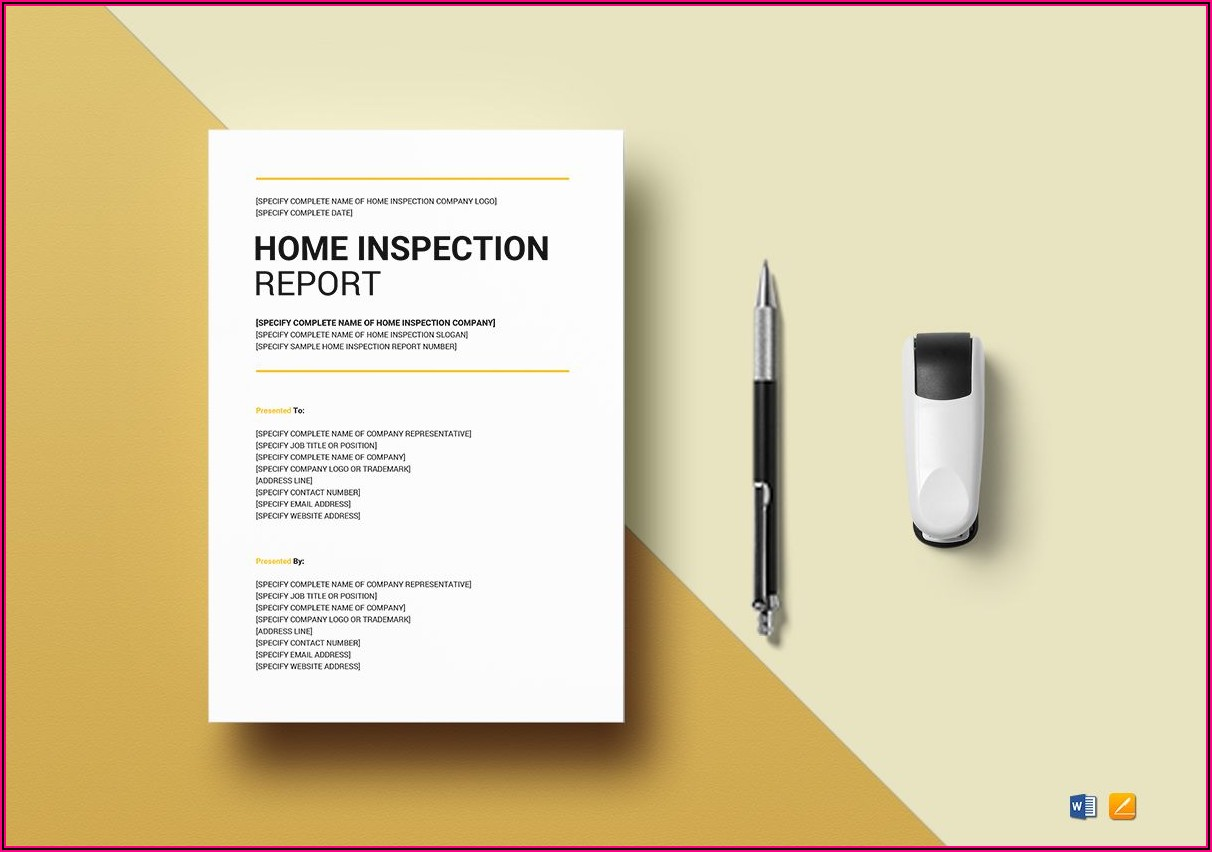 Home Inspection Report Template Word