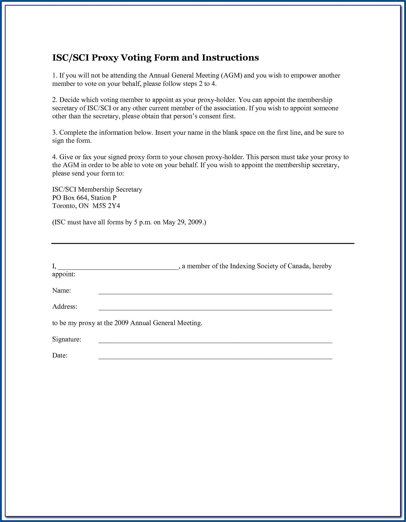 Homeowners Association Proxy Form