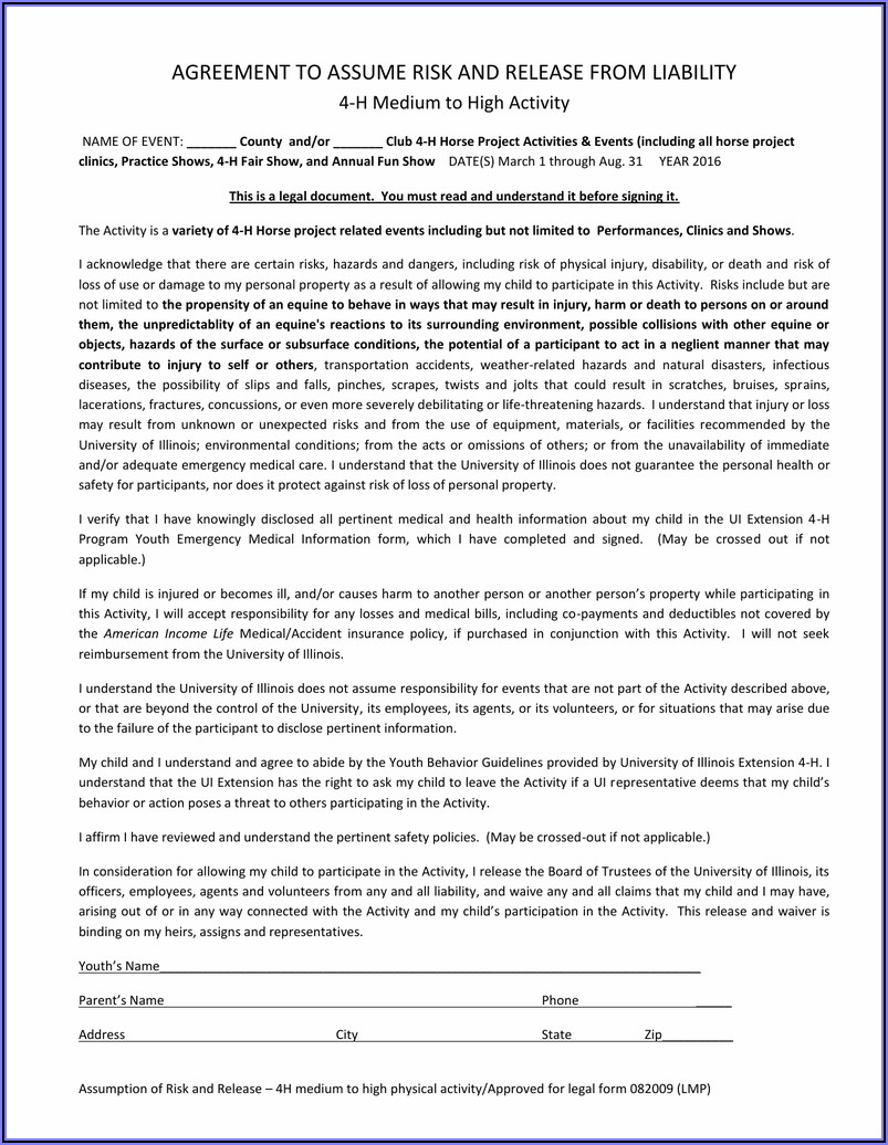 Horse Liability Release Form