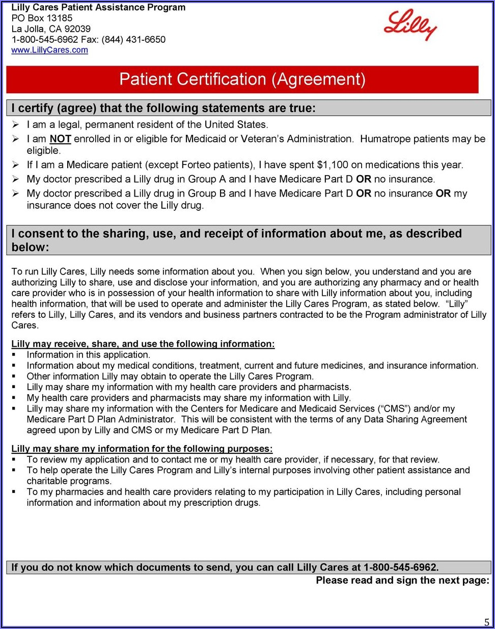 Humalog Patient Assistance Program Form