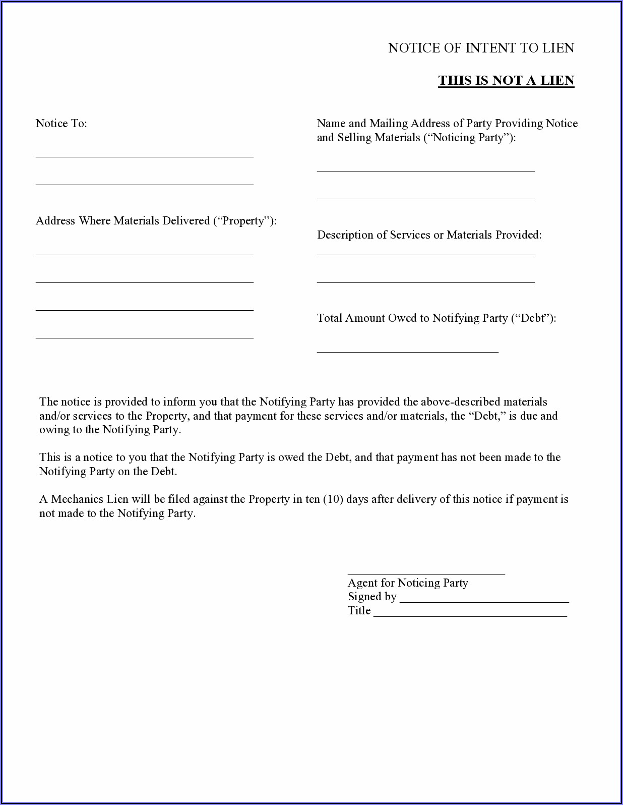 Illinois Mechanics Lien Form Pdf