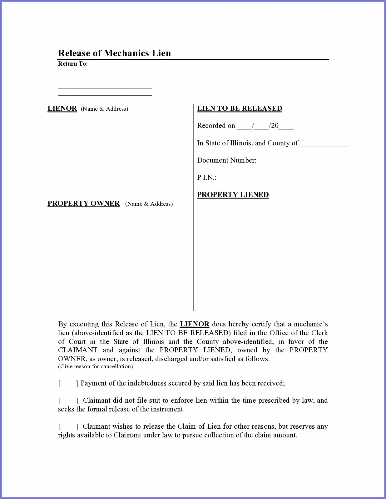 Illinois Mechanics Lien Release Form
