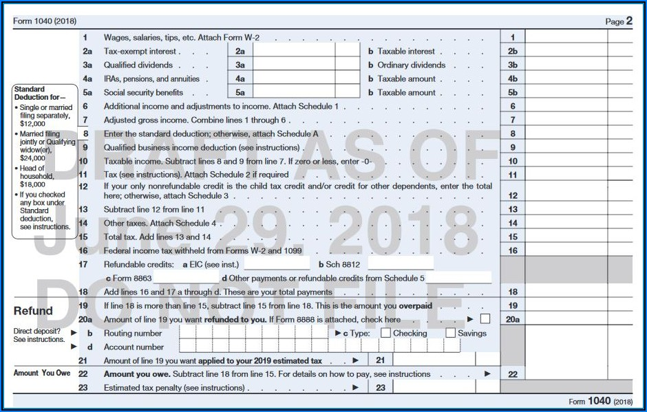 Instructions For 2018 Form 1040ez