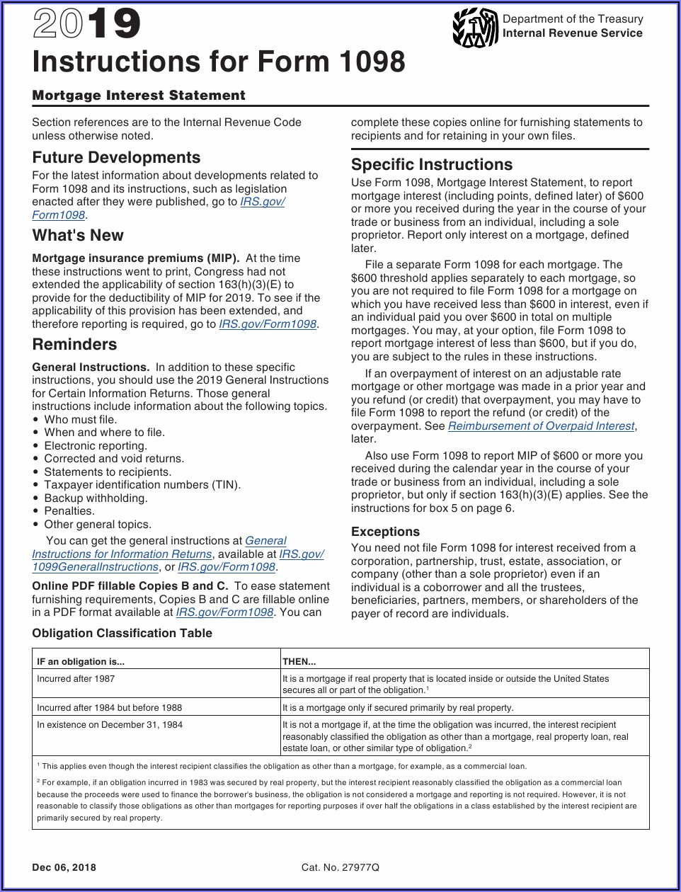 Irs 1098 Mortgage Interest Form 2019