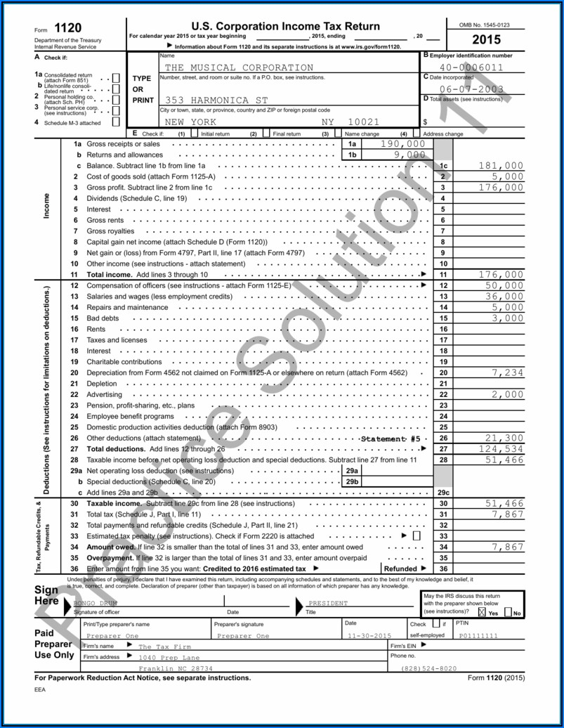 Irs Form 1120s Instructions 2015