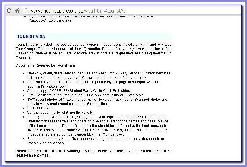 Japan Embassy In Myanmar Visa Application Form