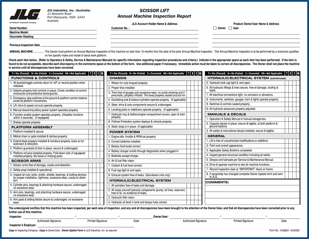 Jlg Daily Inspection Form