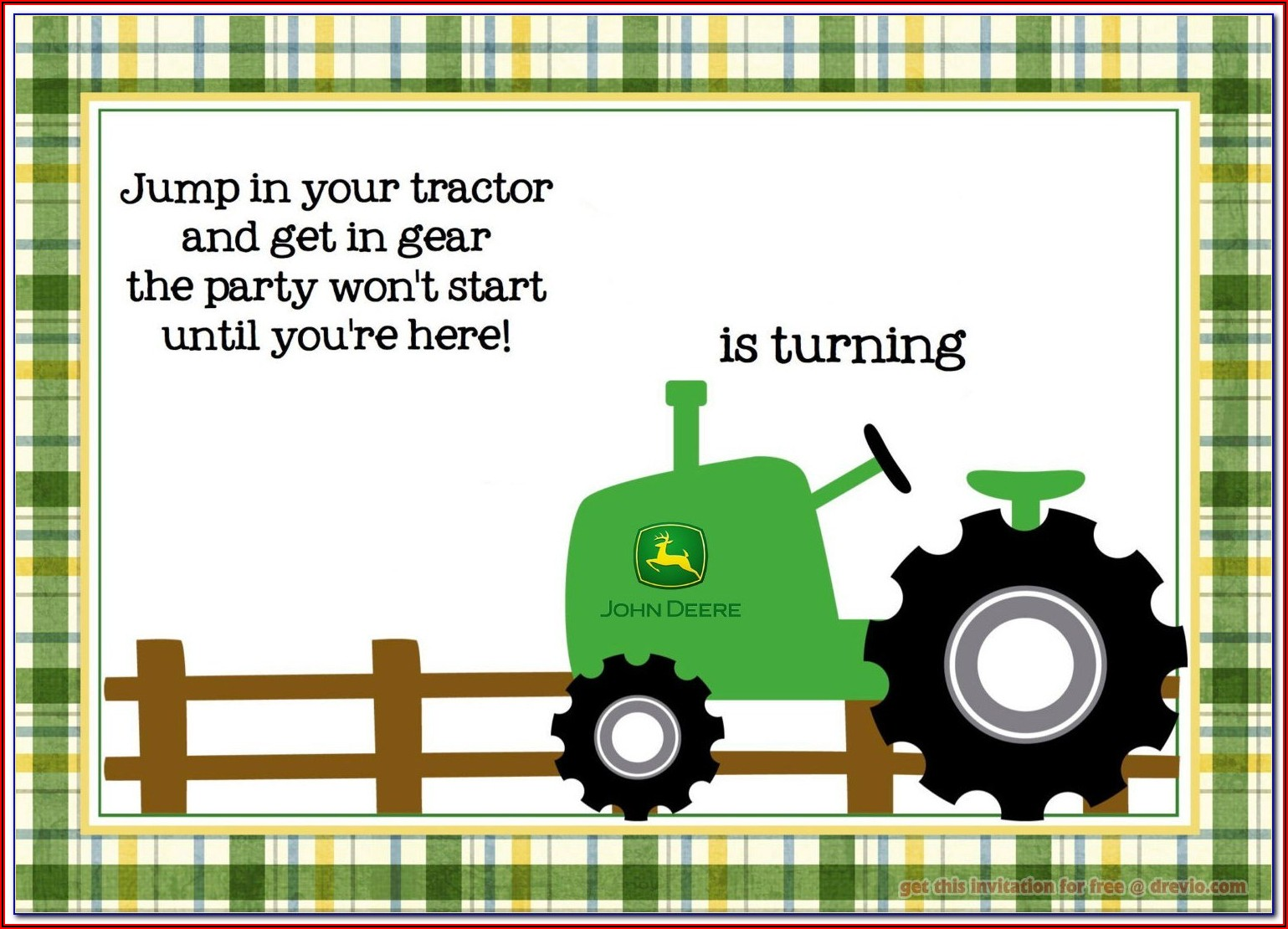 John Deere Invitations Template