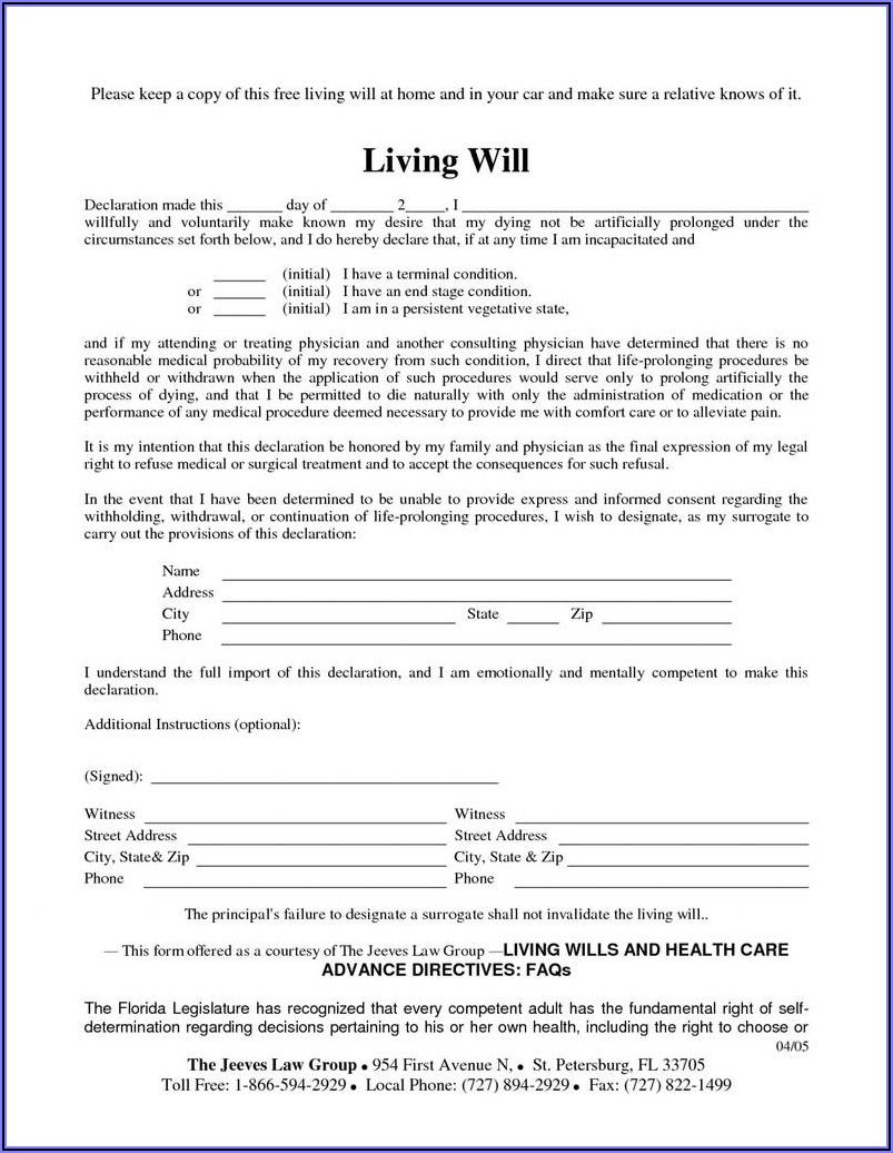 Last Will And Testament Form Free Pdf