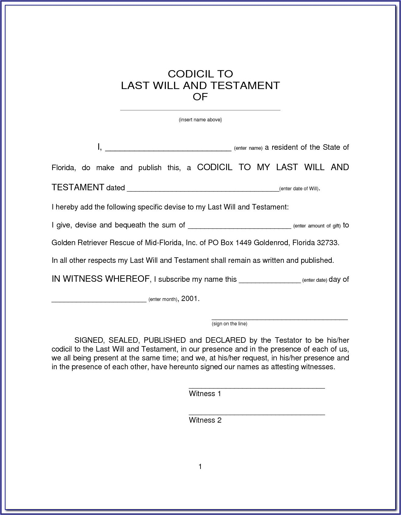 Last Will And Testament Form Free Tennessee