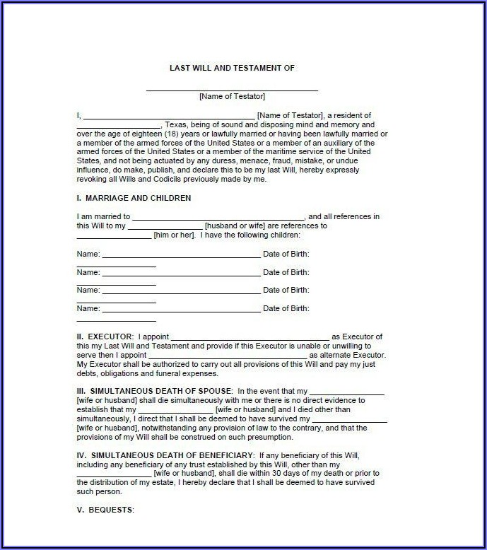 Last Will And Testament Free Forms