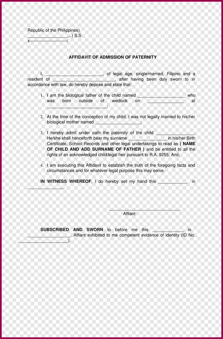 Legal Affidavit Template