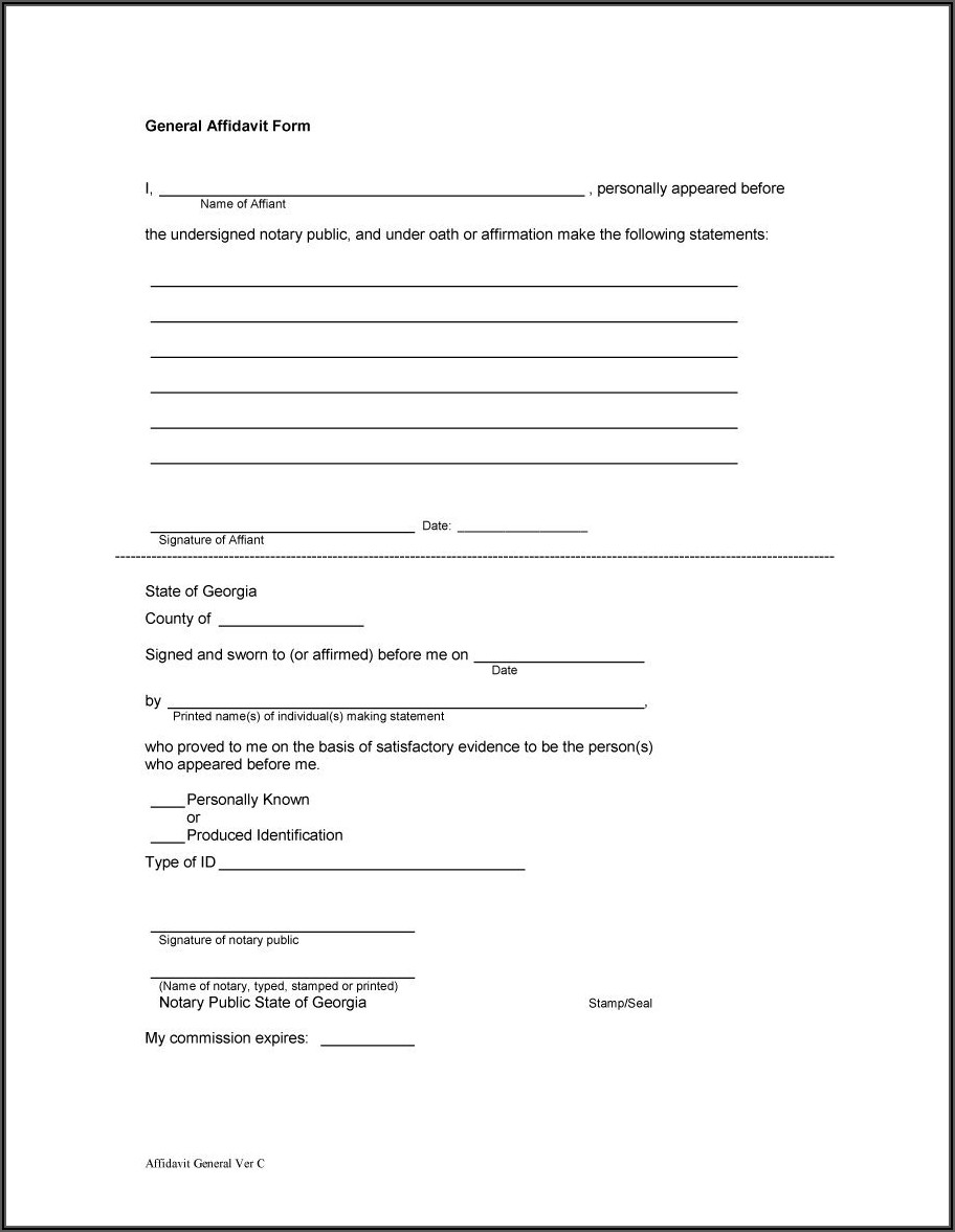 Legal Aid Affidavit Template