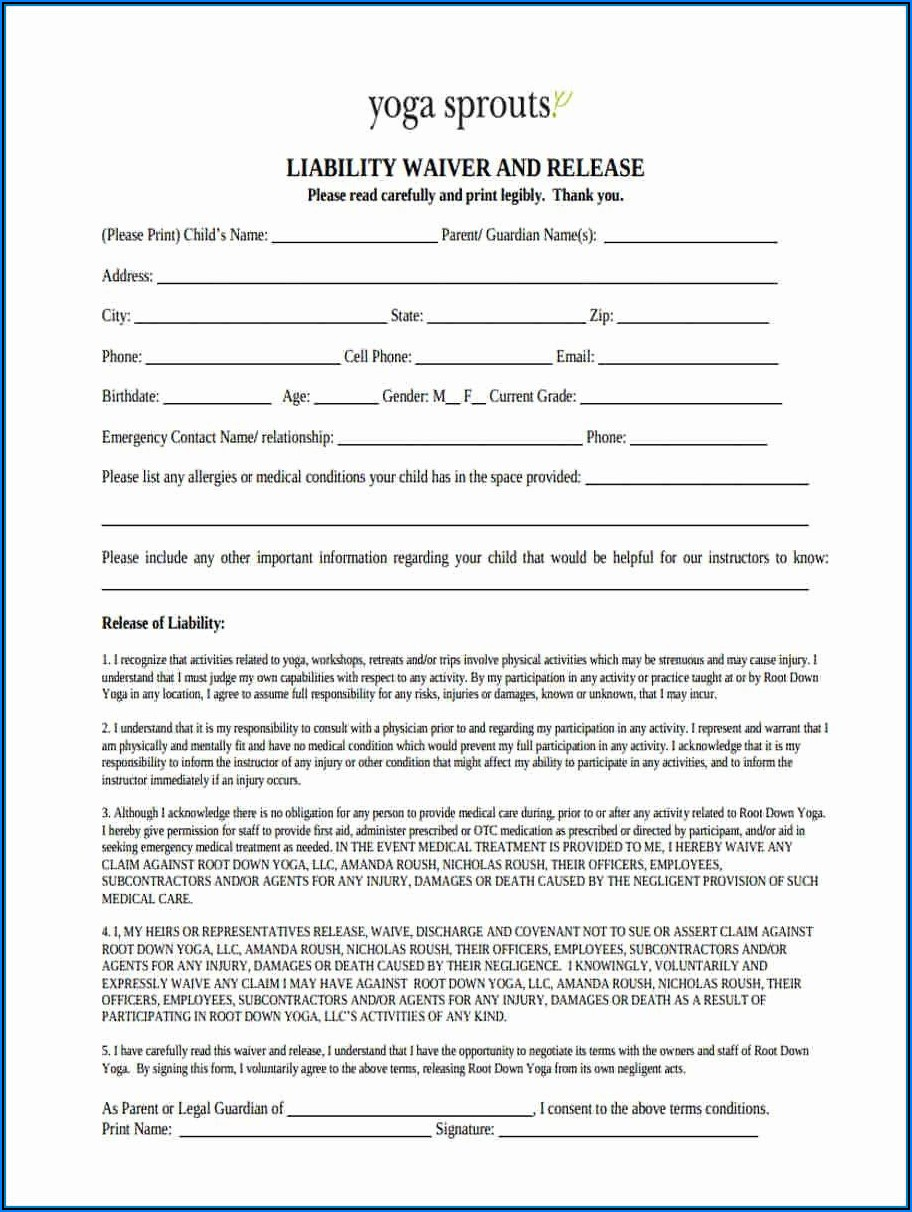 Liability Forms Free