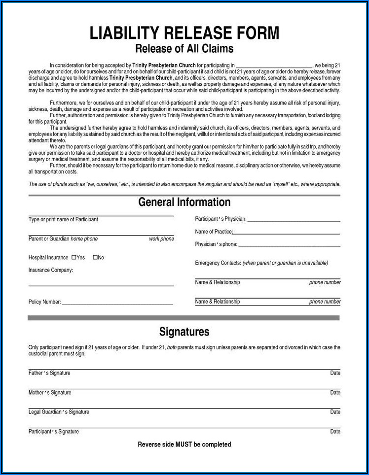Liability Release Forms Free