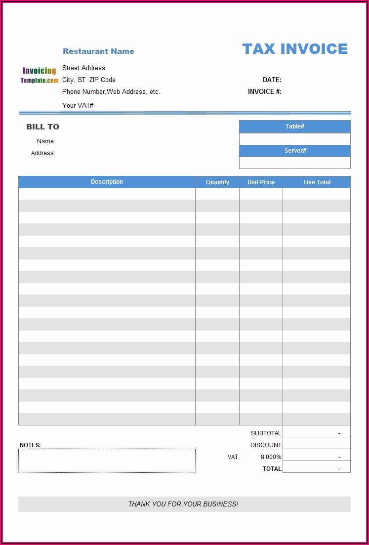 Libreoffice Excel Invoice Template