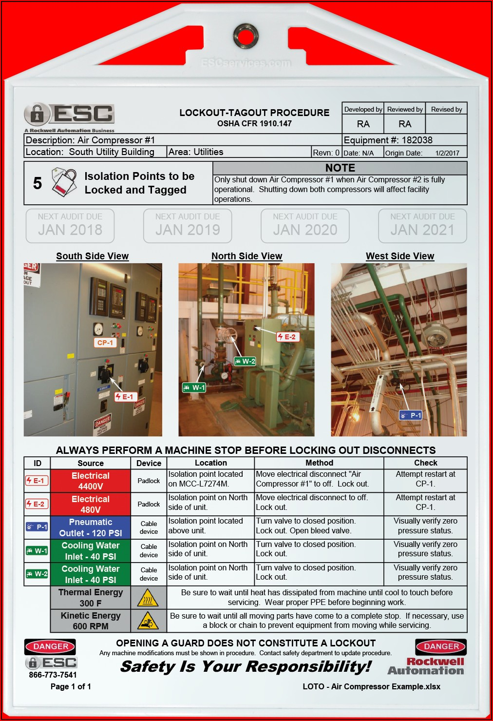 Lockout Tagout Placard Template