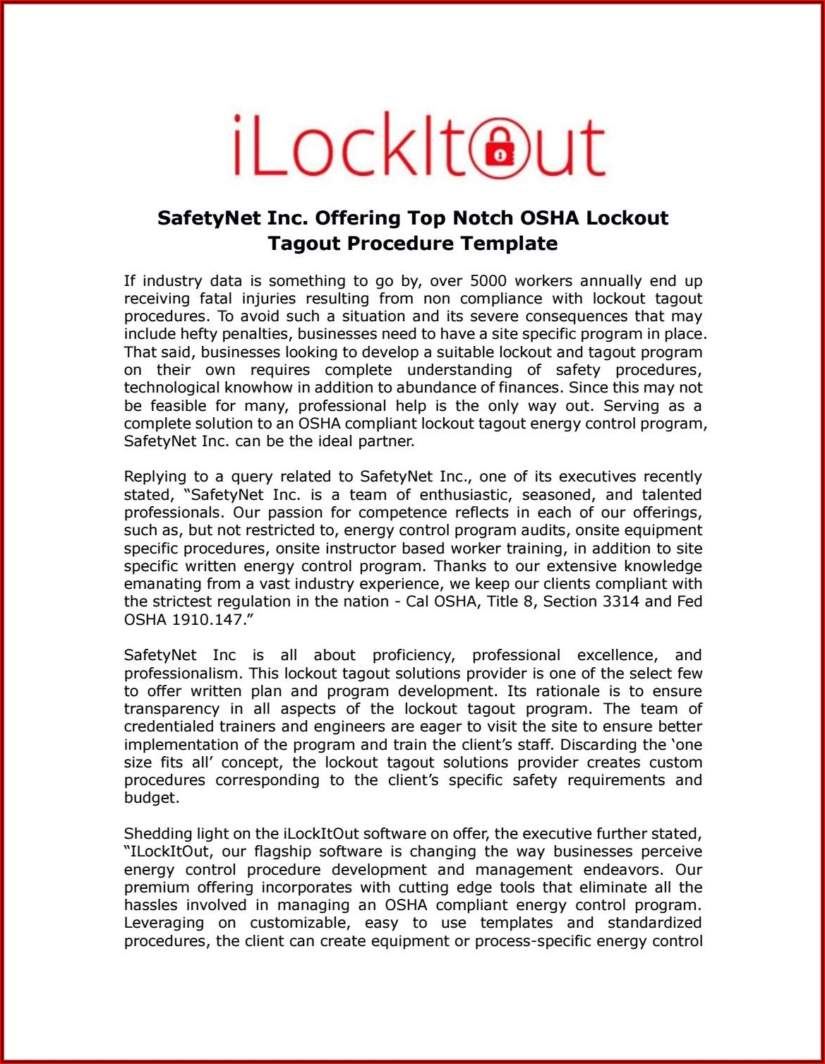 Lockout Tagout Template