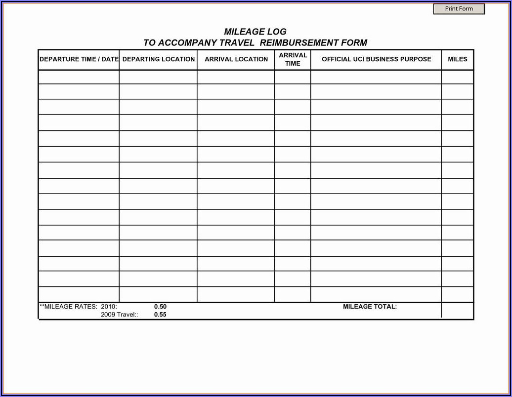 Logisticare Mileage Reimbursement Form Texas