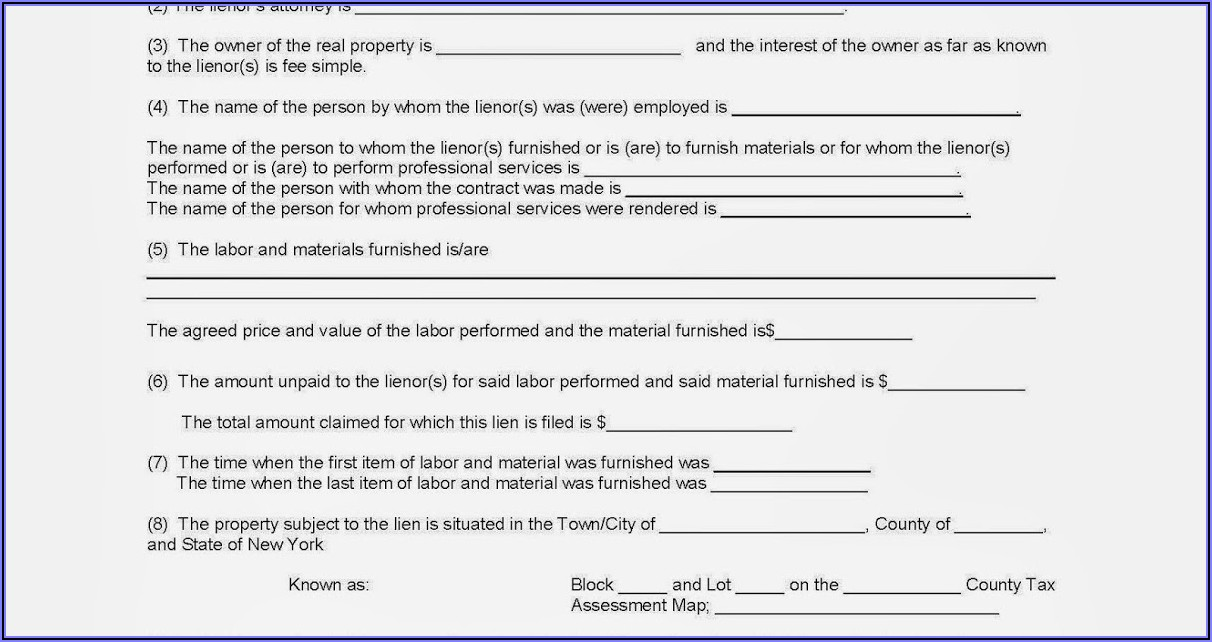 Mechanic Lien Form New York