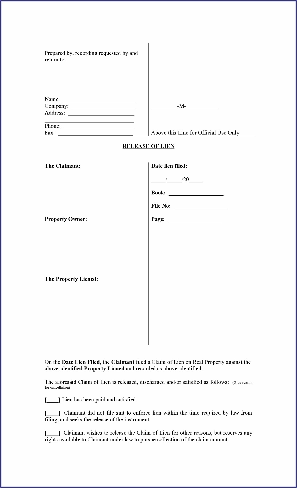 Mechanic's Lien Form North Carolina