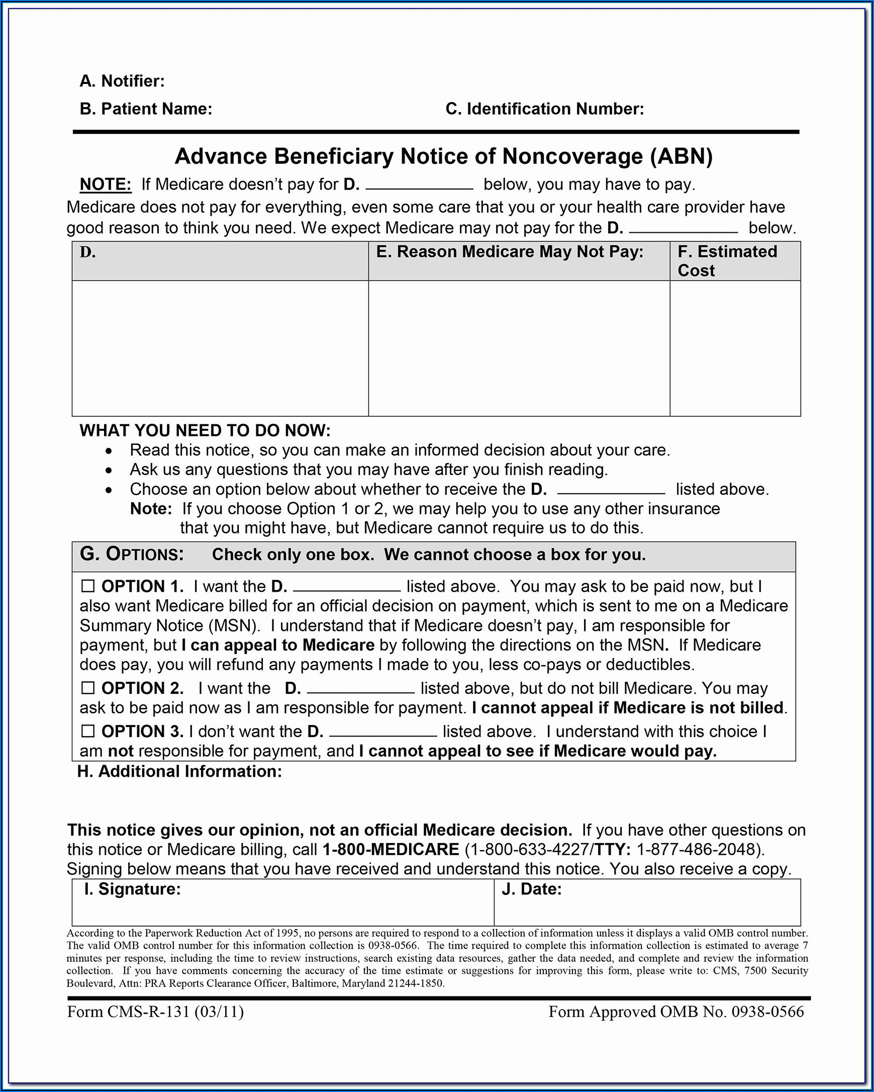 Medicare Part B Form Cms 1763