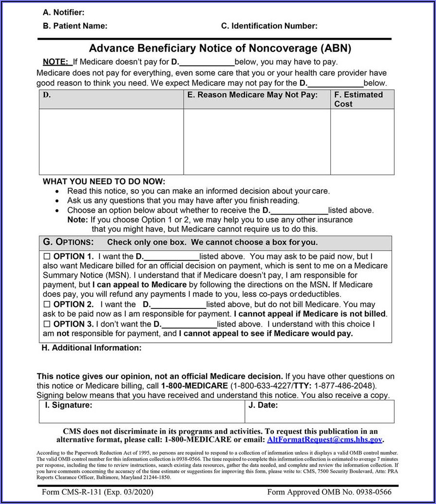 Medicare Part B Form Cms L564cms R 297