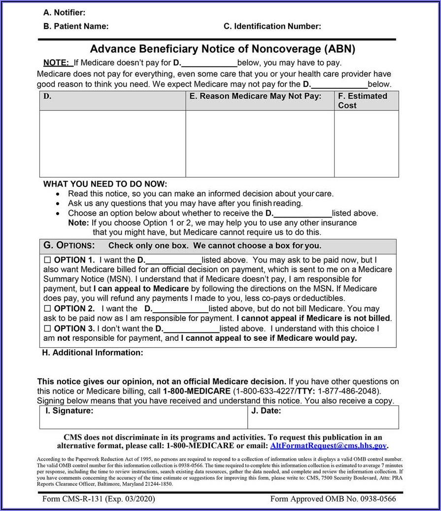 Medicare Part B Form Cms L564cms R 297